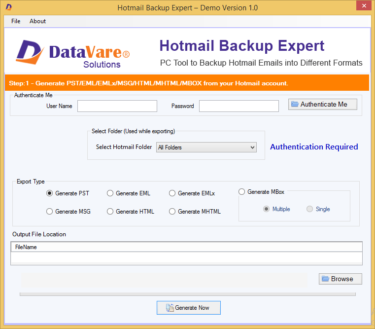 Windows 7 DataVare Hotmail Backup Expert 1.0 full
