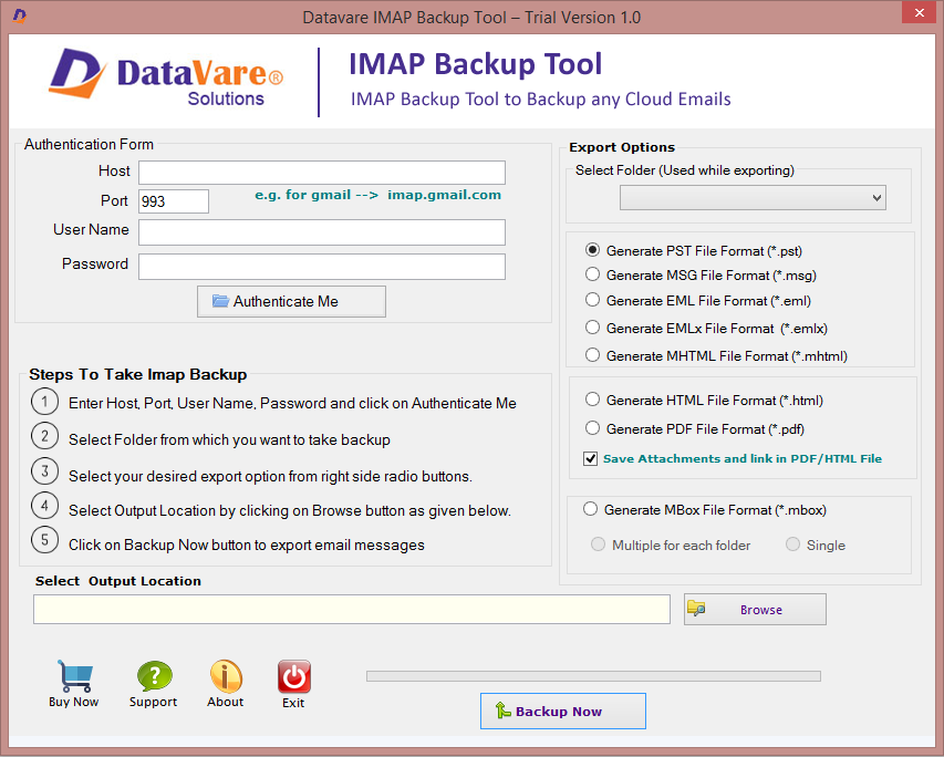 Datavare IMAP Backup Tool full screenshot