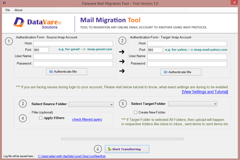Datavare Mail Migration Tool full screenshot