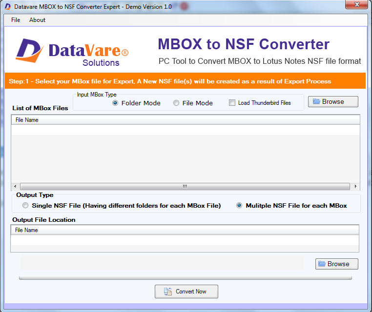 Datavare MBOX to NSF Converter Expert full screenshot