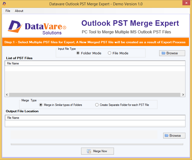 DataVare Outlook PST Merge Exprert Shareware