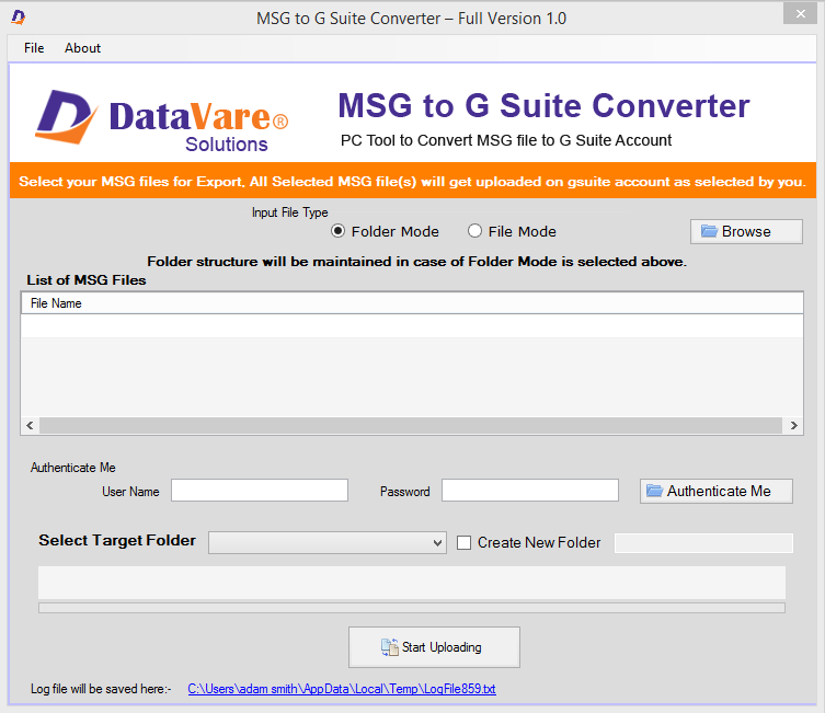 Datavare MSG to G Suite Converter