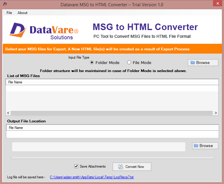 Datavare MSG to HTML Converter full screenshot