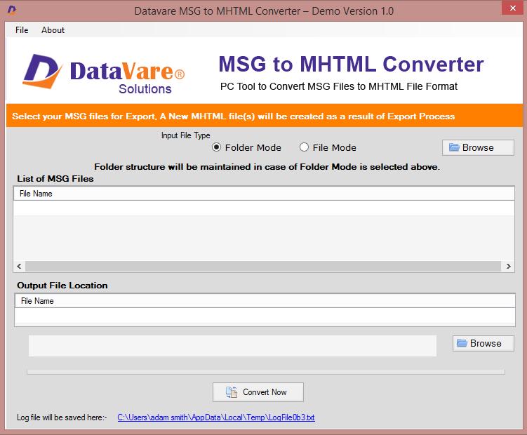 Datavare MSG to MHTML Converter full screenshot