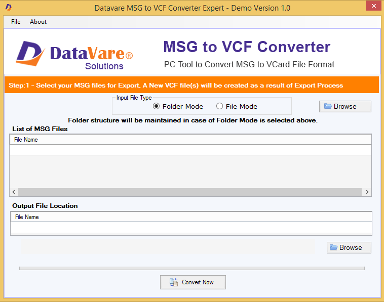 DataVare MSG to VCF Converter Screenshot