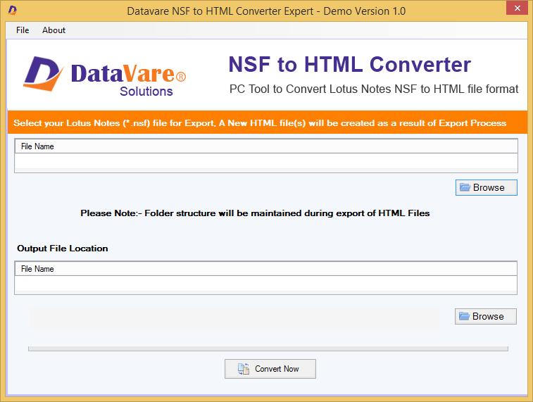 Datavare NSF to HTML Converter full screenshot