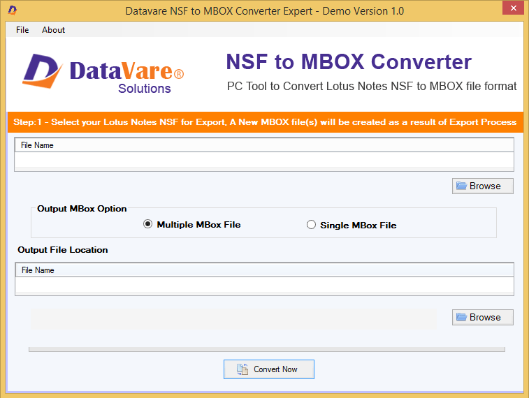 Datavare NSF to MBOX Converter full screenshot
