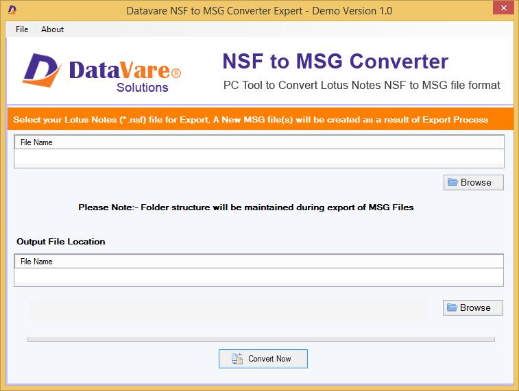 Datavare NSF to MSG Converter full screenshot