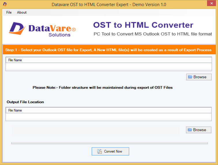 DataVare OST to HTML Converter Expert Screen shot