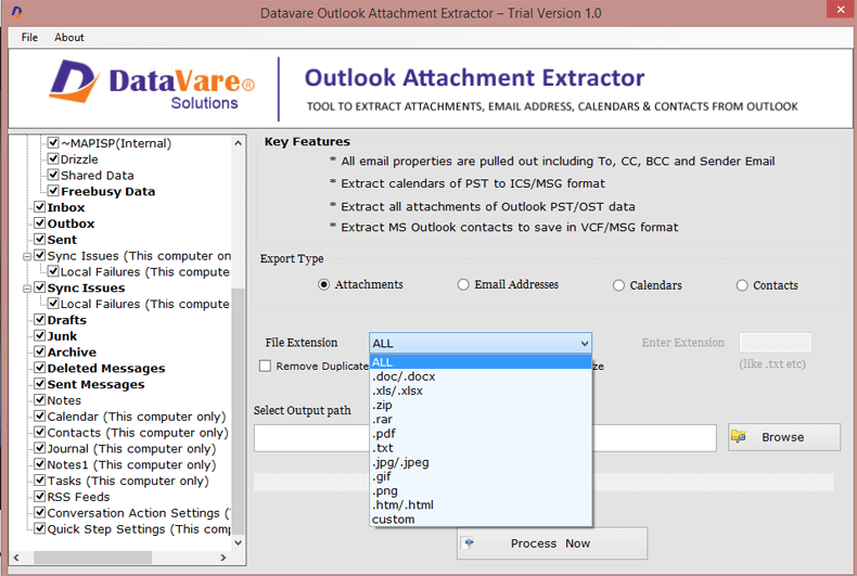 Datavare Outlook Attachment Extractor full screenshot